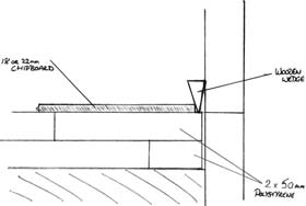 drawing showing board laid between skirtings
